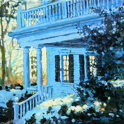Painting - Blue House In Snow by Dan Nelson