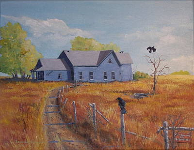 Abandoned Farm House Painting - Blue House On The Prairie by Raymond Schuster
