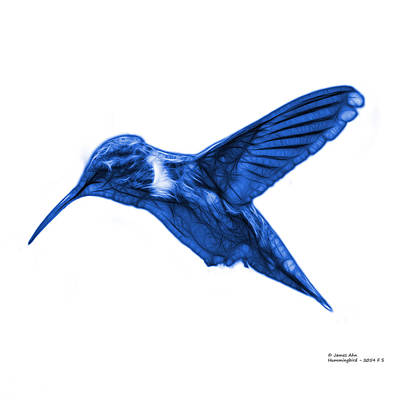 Digital Art - Blue Hummingbird - 2054 F S by James Ahn