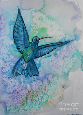 Painting - Blue Hummingbird In Flight by M C Sturman