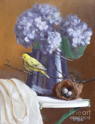 Blue Hydrangeas And Yellow Finch Print by Viktoria K Majestic