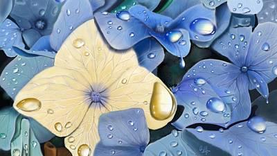 Digital Art - Blue Hydrangeas by Douglas Day Jones