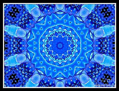 Blooms Photograph - Blue Hydrangeas Flower Kaleidoscope by Rose Santuci-Sofranko