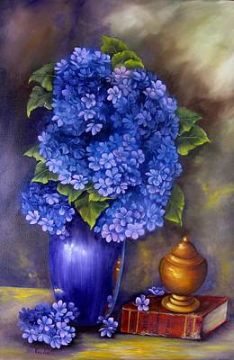 Painting - Blue Hydrangeas by Katia Aho