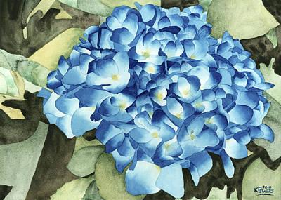 Hydrangea Watercolor Painting - Blue Hydrangeas by Ken Powers