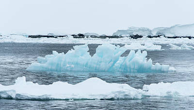 People On Ice Photograph - Blue Ice Floats In Neumayer Channel by Jeff Mauritzen