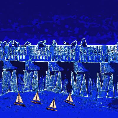Art Print featuring the painting Blue II Toy Sailboats In Lake Worth by David Mckinney