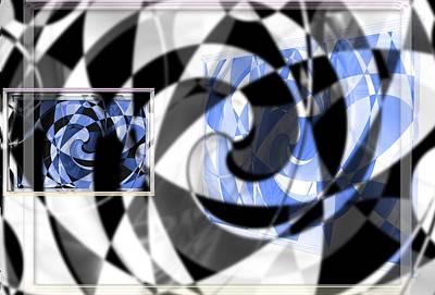 Digital Art - Blue In Frames by Art Di