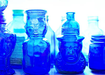 Antique Bottles Photograph - Blue In The Face by Jon Woodhams