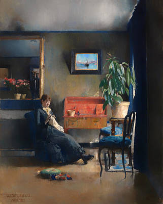 Housewife Painting - Blue Interior by Mountain Dreams