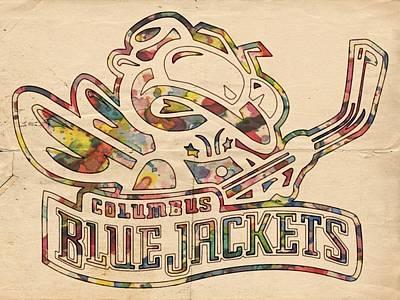 Vintage Hockey Goalie Painting - Blue Jackets Hockey Poster by Florian Rodarte