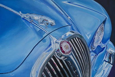 Painting - Vintage Blue Jag by Anna Ruzsan