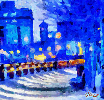 Blue January Night In The City Tnm Art Print by Vincent DiNovici