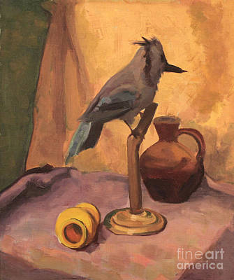 Painting - Blue Jay And Pottery 1929 by Art By Tolpo Collection