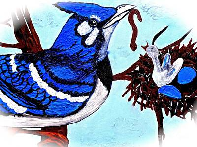 Painting - Blue Jay Baby Bird Feeding Time by Saundra Myles