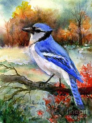 Painting - Blue Jay In Autumn by Virginia Potter