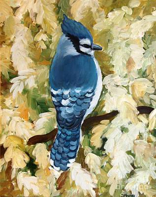 Painting - Blue Jay In Snowy Tree by Inese Poga