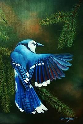 Blue Jay Art Print by Jean Yves Crispo