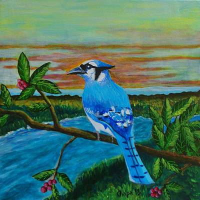 Painting - Blue Jay  by Manny Chapa