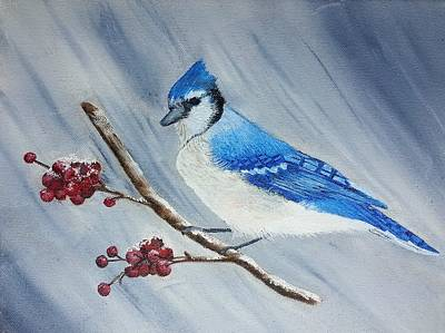 Blue Jay Art Print by Valorie Cross