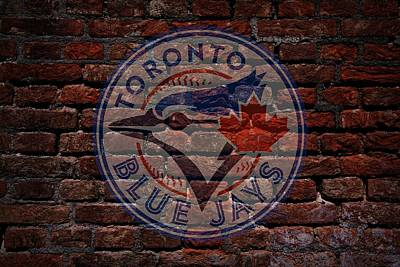 Cabin Wall Digital Art - Blue Jays Baseball Graffiti On Brick  by Movie Poster Prints