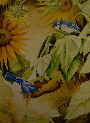 Painting - Blue Jays On Sunflower by Charles Owens