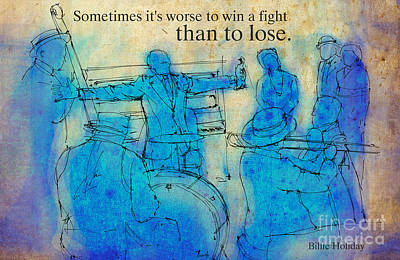 Jazz Royalty-Free and Rights-Managed Images - Blue Jazz - Bille Holiday Quote by Drawspots Illustrations