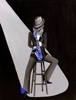 Figures Painting - Blue Jazzmine by Allison Liffman