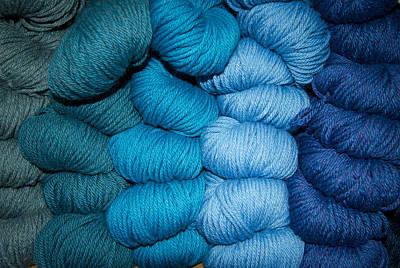 Photograph - Blue Yarn By Jean Noren by Jean Noren