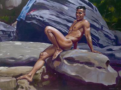 Asian Nude Painting - Blue Jeans by Douglas Simonson