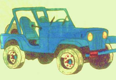 Jeep Drawing - Blue Jeep by Christy Saunders Church