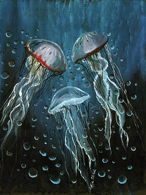 Painting - Blue Jellies by Kija  Elstad