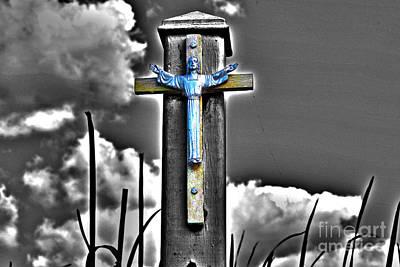 Blue Jesus Reprise Art Print by Rick Bravo