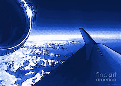 Digital Art - Blue Jet Pop Art Plane by R Muirhead Art
