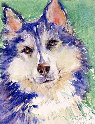 Husky Puppy Painting - Blue by Judith Levins