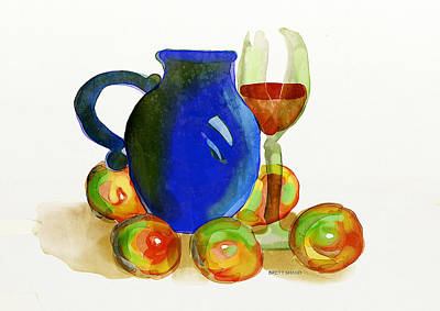 Digital Art - Blue Jug And Apples by Brett Shand