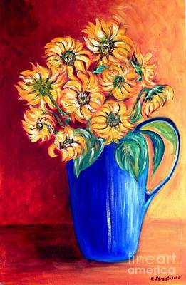 Blue Jug Yellow Flowers Original by Caroline Street