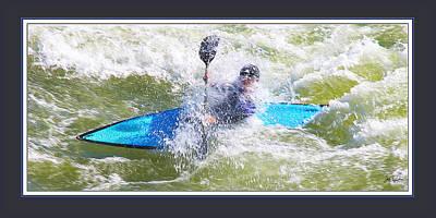 Great Adventure Digital Art - Blue Kayak At Great Falls Md by Joe Paradis