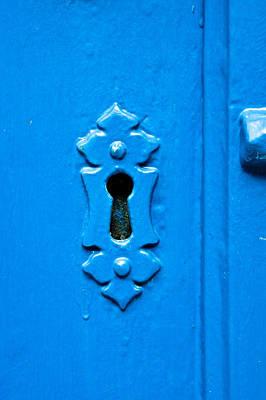 Blue Keyhole Art Print by Tom Gowanlock