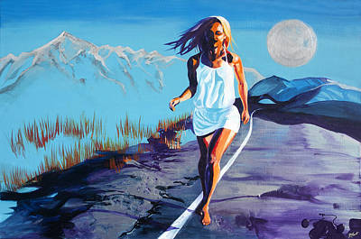Floating Girl Painting - Blue Kezia Road by Kat Frost