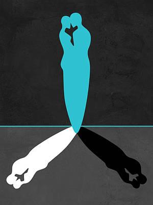 Love Making Mixed Media - Blue Kiss Shadow by Naxart Studio