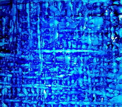 Photograph - Blue Knitted Abstract Alcohol Inks by Danielle  Parent