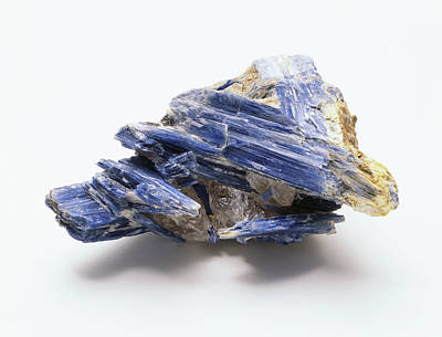 Mineralogy Photograph - Blue Kyanite Crystals In Groundmass by Dorling Kindersley/uig