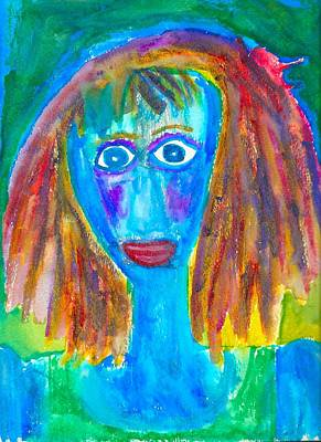 Drucker Painting - Blue Lady by Artists With Autism Inc
