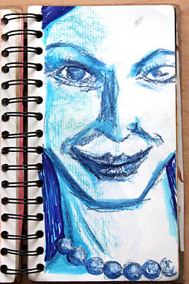Blue Lady From A Sketchbook Print by Del Gaizo