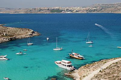 Maltese Photograph - Blue Lagoon, Aerial View, Comino by Nico Tondini