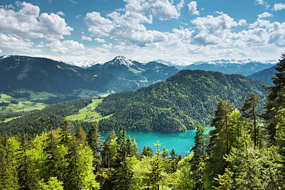 Tyrol Wall Art - Photograph - Blue Lake In Mountains by Picturegarden
