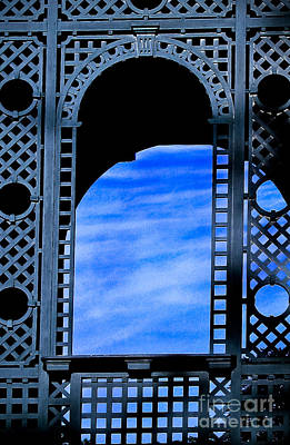 Photograph - Blue Lattice Work Window by Colleen Kammerer