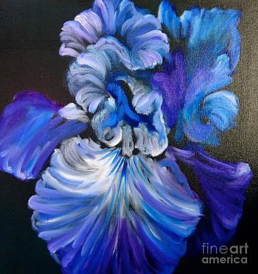 Blue/lavender Iris Art Print by Jenny Lee