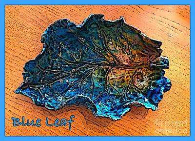 Ceramic Art - Blue Leaf Ceramic Design 2 by Joan-Violet Stretch